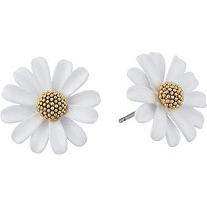 Kate Spade White Into The Bloom Daisy Stud Earring